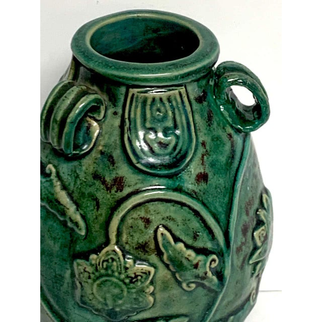 Green Chinese Green Glazed Lotus Motif Vase For Sale - Image 8 of 10