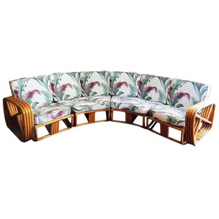 Restored Paul Frankl Four Strand Rattan Six-Seat Corner Sectional Sofa For Sale
