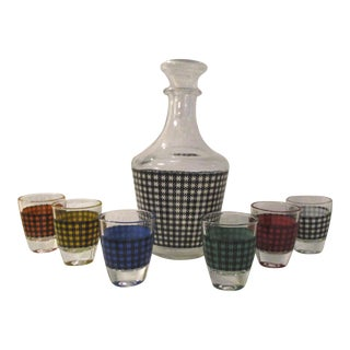 Mid-Century French Houndstooth Decanter & Glasses - Set of 7 For Sale