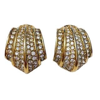 Christian Dior Rhinestone Earrings, Circa 1980s For Sale