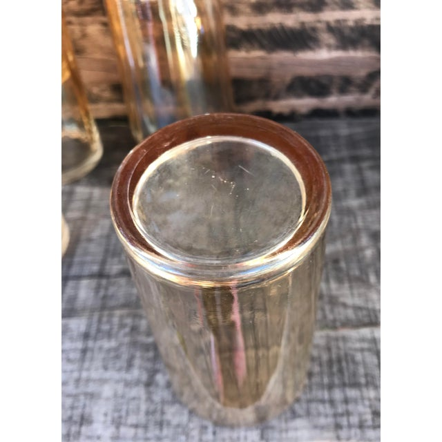 Orange Iridescent Carnival Glass Cocktail Shaker W/ Glass Elephant Top & Glasses For Sale In Denver - Image 6 of 13