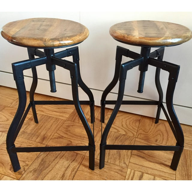 Industrial/Rustic Adjustable Height Swivel Bar Stools - a Pair - Image 2 of 4