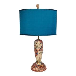 1920s Japanese Kutani Lamp and Shade For Sale