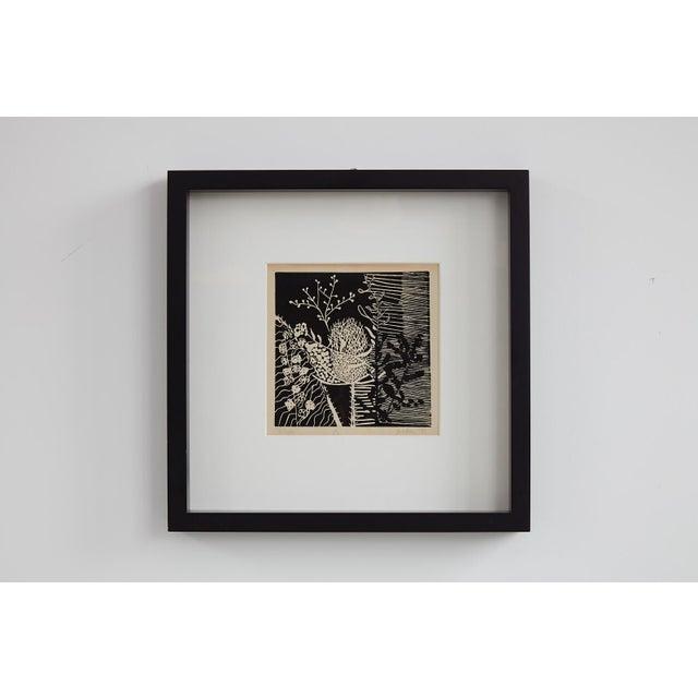 Boho Chic Black and White Botanical Woodcut Print For Sale - Image 3 of 3