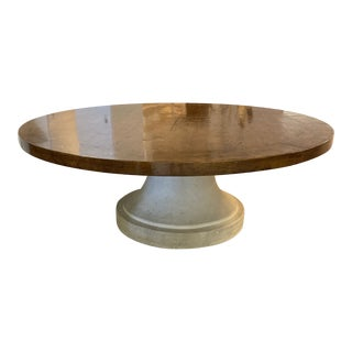 Michael Taylor Slab Top Round Wood Table + Faux Stone Base For Sale