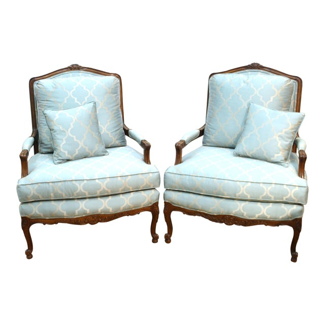 French Louis XV Provincial Style Bergere Chairs For Sale