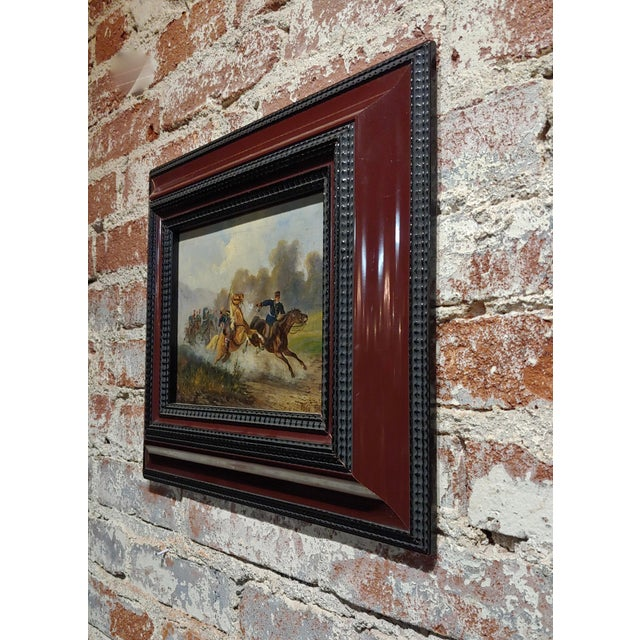 Canvas Hermann Volz -19th Century Cavalry Battle -Oil Painting C.1870s For Sale - Image 7 of 9