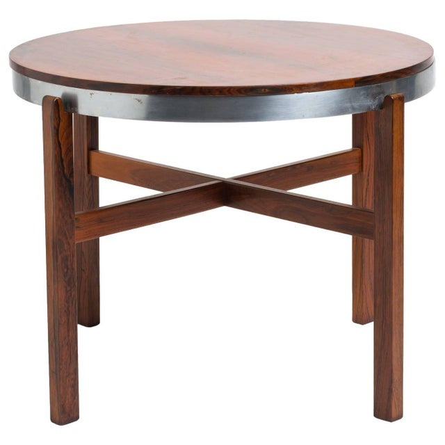 Norwegian Rosewood Side Table With Metal Trim For Sale - Image 9 of 9