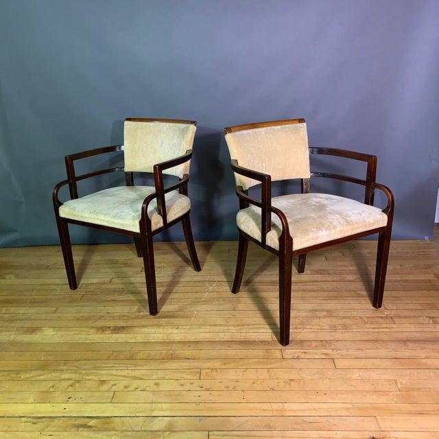 Pair 1930s German Art Deco Armchairs, Mahogany & Velvet For Sale - Image 12 of 12