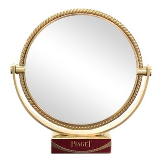 Heavy Solid Bronze Swiss Made Shaving Mirror For Sale