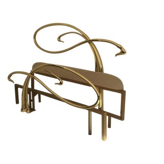 Swan Motif Art Nouveau Style Brass King-Size Bed For Sale