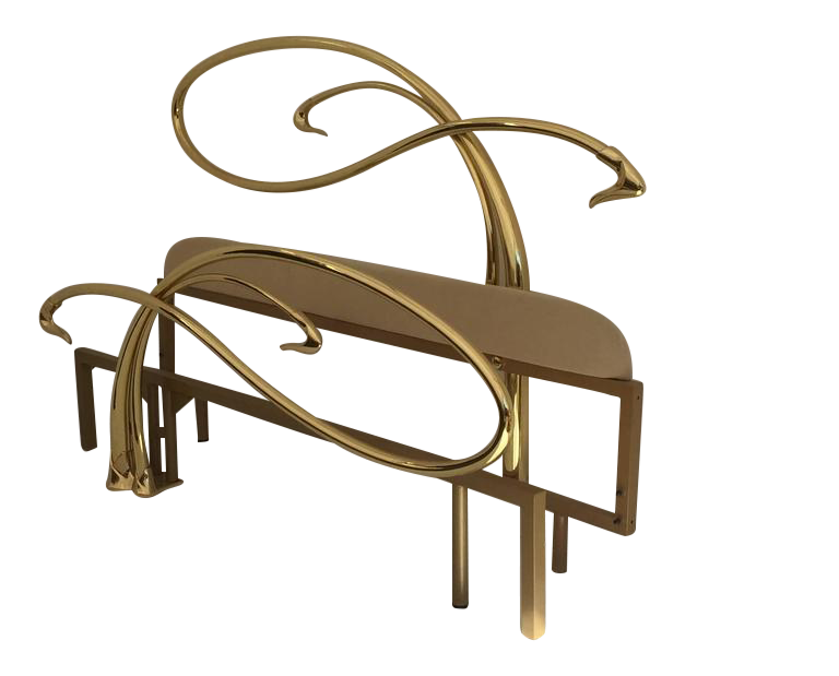 Exceptional Swan Motif Art Nouveau Style Brass King Size Bed   DECASO