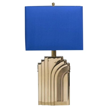 Single Art Deco Style Brass Table Lamp 1970s - Image 1 of 4