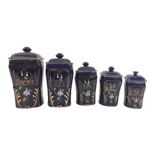 French Blue Porcelain Canister Set - 5 Pc.