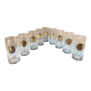 Vintage Mid Century Fornasetti Brass Zodiacal Characters Glasses - Set of 8 For Sale