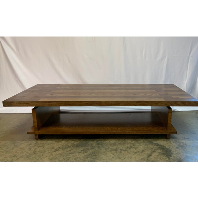 Midcentury modern brutalist coffee table by Lane Furniture of Alta Vista constructed of contrasting walnut and oak planks,...