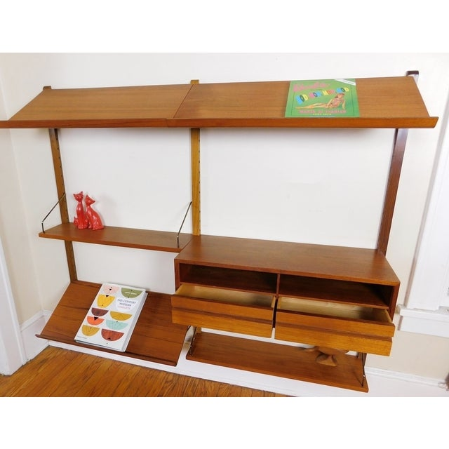 Danish Modern Teak Floating Adjustable Desk Wall Unit Bookcase by Carlo Jensen for Hundevad & Co For Sale - Image 5 of 9