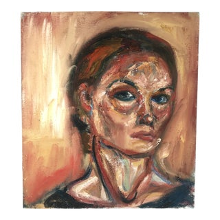 Late 20th Century Portrait of Woman Oil on Canvas Painting For Sale