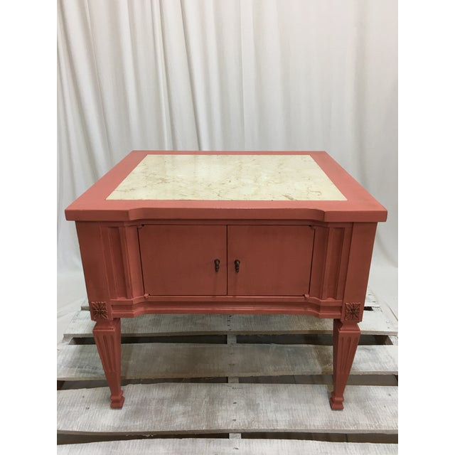 Scandinavian Pink Italian Marble Top End Table For Sale - Image 10 of 10