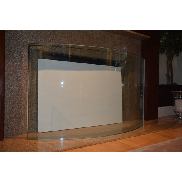 Glass Custom Curved/Bowed Glass Fireplace Screen For Sale - Image 7 of 11