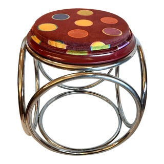 Mid Century Circle Motif Stool For Sale