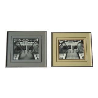 Vintage Industrial Art Blurry Escalators Photos - a Pair For Sale