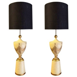 Pair of Monumental Painted Venetian Lamps