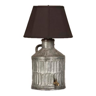 1900s English Galvanized Metal Jug Converted Custom Lamp For Sale