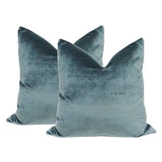 """22"""" Italian Silk Velvet Pillows in Aegean - A Pair"""