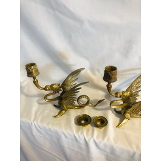 Vintage Chinoiserie Brass Winged Dragon Candleholders- A Pair Preview