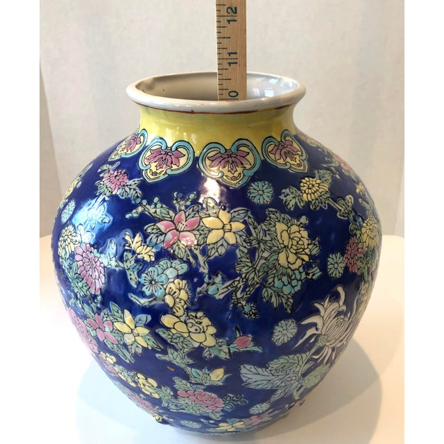 1970s Vintage Blue Chinoiserie Ceramic Vase For Sale - Image 5 of 12
