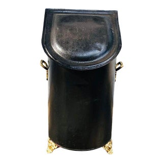 Antique Early 20th Century Coal Metal Scuttle Bin For Sale