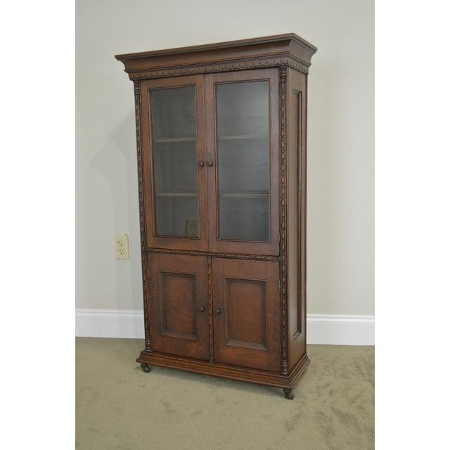 Brown Antique Miniature Victorian Oak 2 Door Bookcase Cabinet For Sale - Image 8 of 13