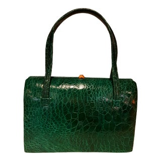 1960s Vintage Green Jewel Tone Exotic Skin Bag For Sale