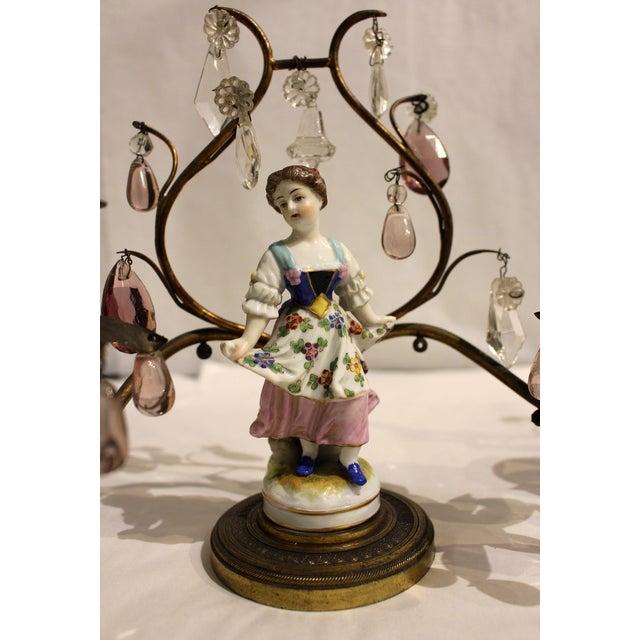 Metal Gilt Bronze Porcelain Figurine Candelabras - a Pair For Sale - Image 7 of 11