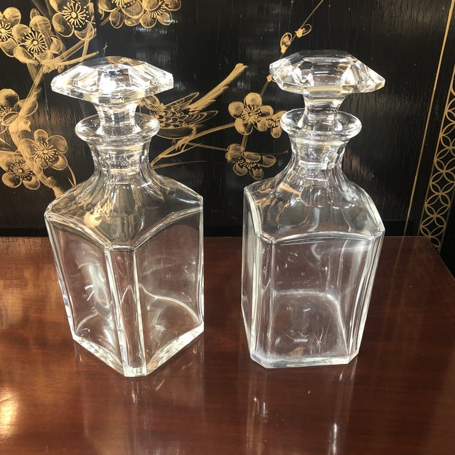 Baccarat Crystal Decanter. Large, Heavy Square Form With Chamfered Corners, with Conforming Stopper. Panel Cut Decoration...