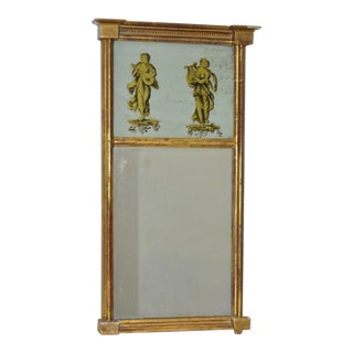 Late 19th Century Trumeau Mirror W/ Reverse Gilded Musicians For Sale