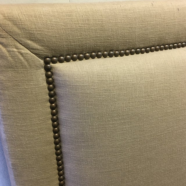 Contemporary Linen & Bronze Twin Size Upholstered Headboard For Sale - Image 3 of 9