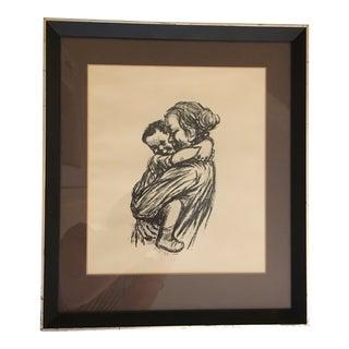 Vintage Framed Sketch of Mother and Child