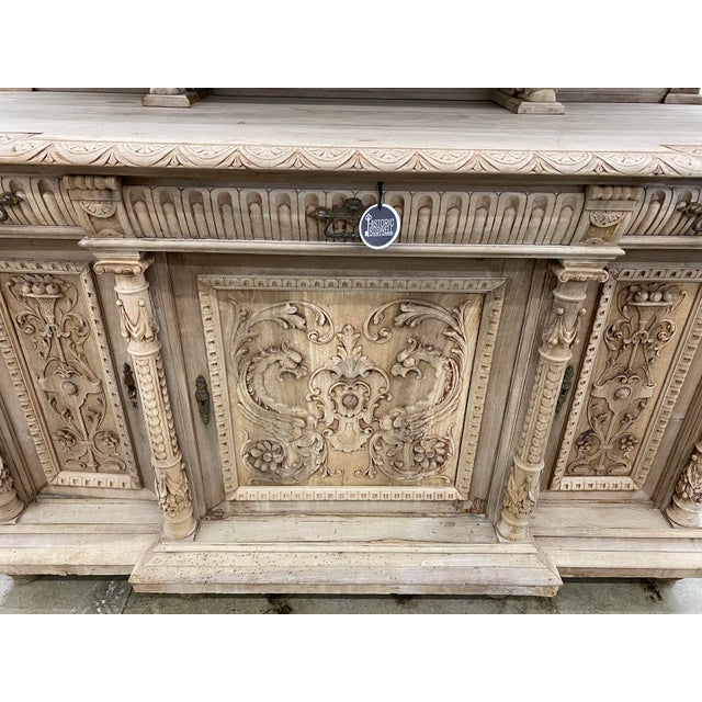 Tan 19th Century French Renaissance Bleached Walnut Cabinet For Sale - Image 8 of 13