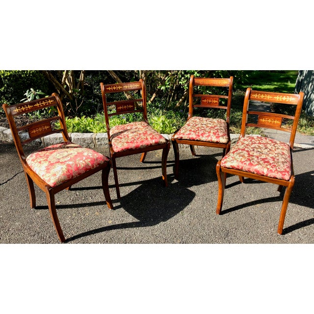 1920s Vintage English Regency Style Brass Inlaid Dining Chairs- Set of 4 For Sale - Image 4 of 13