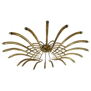 Brass Ceiling Chandelier Model 391 by Oscar Torlasco for Lumi, Italy, 1960s For Sale