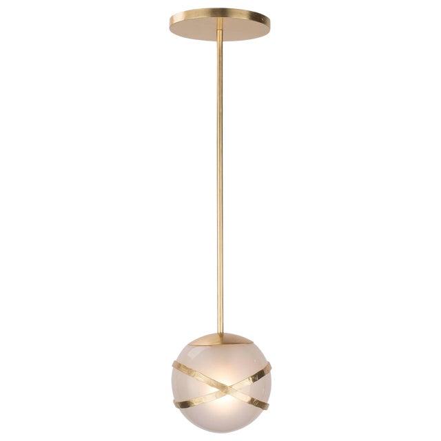 "Vibe Pendant - 10"" Globe (Brushed Gold) For Sale"