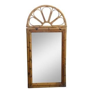 Vintage Florida Style Rattan Sunburst Mirror