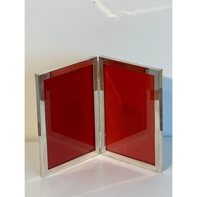 Metal Sterling Modern Double Folding Frame, Handmade For Sale - Image 7 of 13