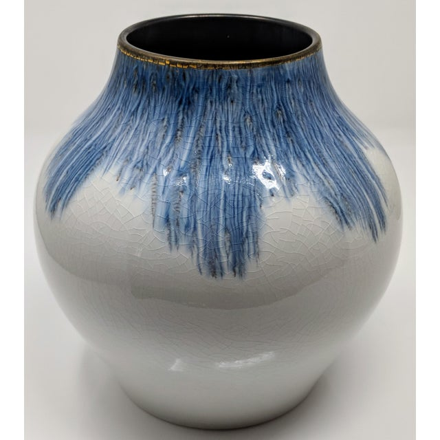 Gold Rimmed Blue And White Vase Chairish