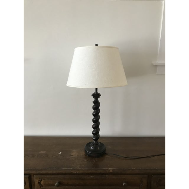 Vintage Adjustable Barley Twist Table Lamp With Shade For Sale In Chicago - Image 6 of 12