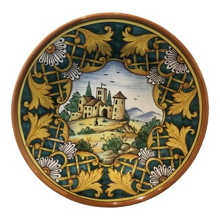 Vintage Italian Hand Painted Round Ceramic Wall Plate For Sale