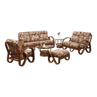 "Three-Strand 3/4 Pretzel ""Kauai"" 6 Piece Set Rattan Living Room Set For Sale"