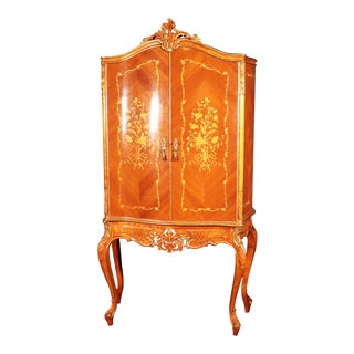 French Louis XV Style Mirrored Satinwood Liquor Cabinet Martini Bar For Sale